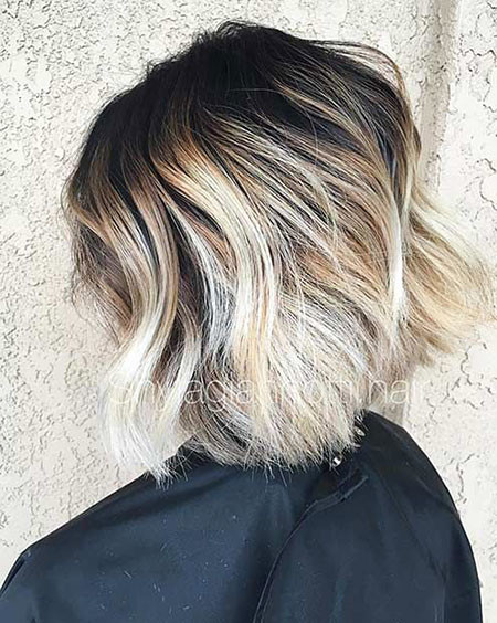 Dark-Roots Short Ombre Hairstyles
