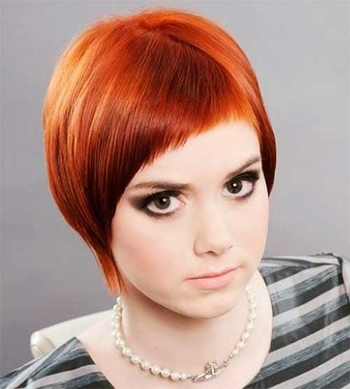 Layered-Red-Short-Hair-for-Chubby-Face Short Haircuts For Chubby Faces