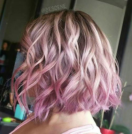 Pink-Blonde-Ombre Short Ombre Hairstyles
