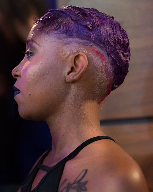 Purple-Hair-Color Best Short Hairstyles for Girls 2019