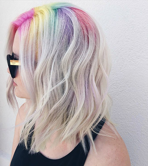 Rainbow-Hair-Color Best Short Hairstyles for Girls 2019