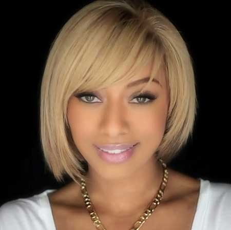 Short-Bob-Hairstyle-with-Long-Bangs Short Bob Hairstyles for Black Women