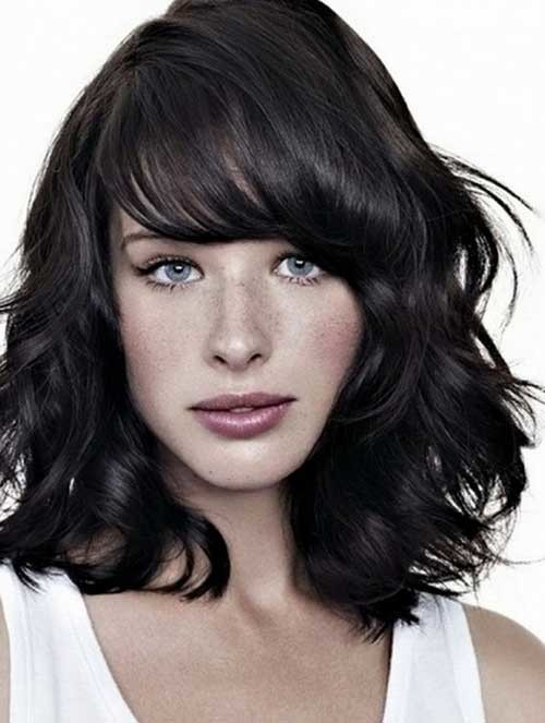 Short-Medium-Length-Thick-Hair-with-Side-Bangs Short Medium Length Haircuts
