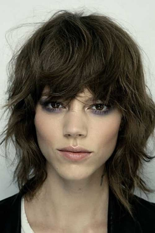 Short-Medium-Messy-Wavy-Hair-with-Bangs Short Medium Length Haircuts