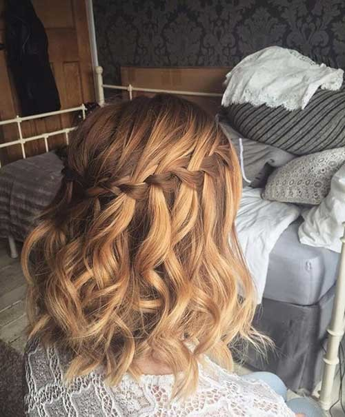 Waterfall-Braid-Short-Hair Most Beautiful Short Hairstyles for Weddings