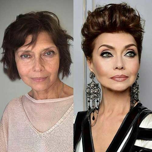 Amazing-Before-After-Pixie-Hair-and-Make-Up Classy Pixie Haircuts for Older Women