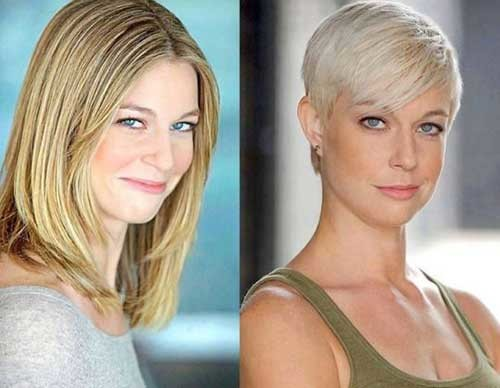 Blonde-Pixie Before and After Pics of Short Haircuts