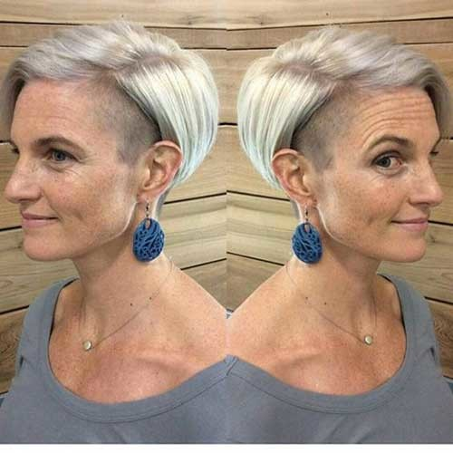 Gray-Short-Hair-with-Glasses Classy Pixie Haircuts for Older Women