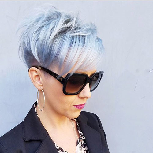 Silver-Blue-Pixie-Hair Best Short Pixie Hairstyles 2018