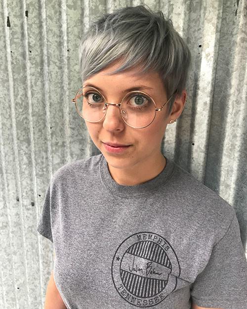 Silver-Pixie-Cut Best Short Pixie Hairstyles 2018