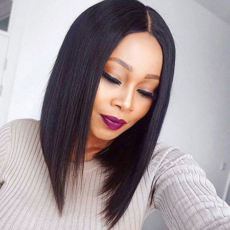 Angled-Medium-Hair Best Short Hairstyles for Black Women 2018 – 2019