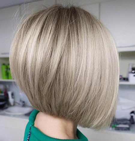 Ash-Blonde-Sleek-Hair Short Bob Haircuts 2019