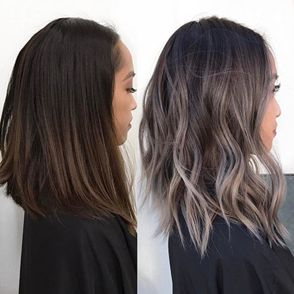 Ash-Gray-Ombre-Hair Popular Short Wavy Hairstyles 2019