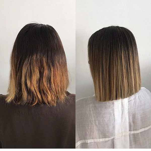 Balayage-Short-Dark-Straight-Hair Short Straight Hairstyles 2019