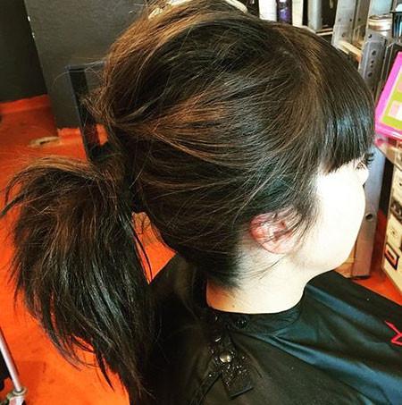 Black-Hair-Messy-Ponytail Ponytail Hairstyles for Short Hair