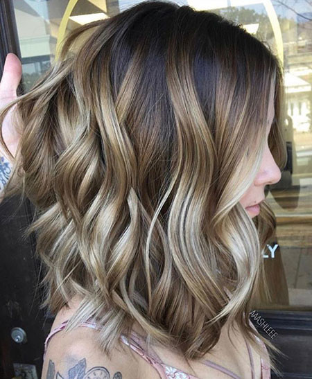 Blonde-Balayage-Medium-Length-Hair Popular Short Haircuts 2018 – 2019