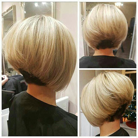 Blonde-Stacked-Bob Short Inverted Bob Hairstyles