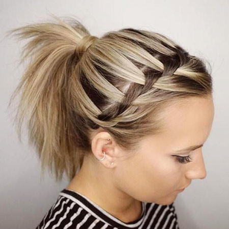 Braided-Ponytail-Style Ponytail Hairstyles for Short Hair