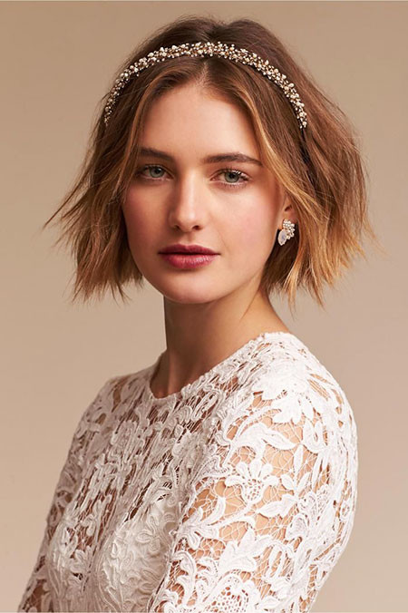 Choppy-Hair-with-Headband Wedding Hairstyles for Short Hair