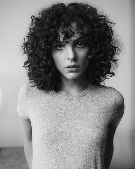 Curly-Hair-Styles-with-Bangs Popular Short Curly Hairstyles 2018 – 2019