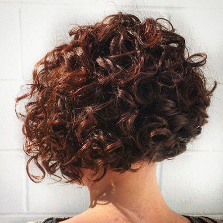 Curly-Mahogany-Hair Popular Short Curly Hairstyles 2018 – 2019
