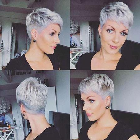 Grey-Pixie-Hair Trendy Short Hairstyles 2019