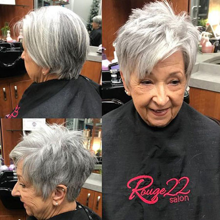 Grey-Short-Choppy-Hairstyles Best Pixie Haircuts for Over 50 2018 – 2019