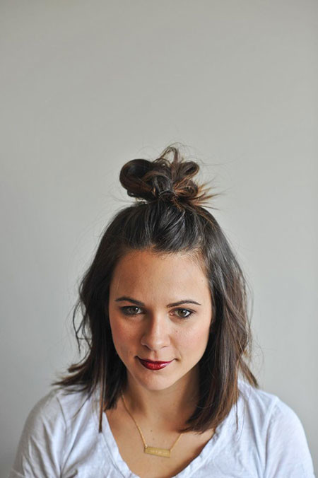 Half-Updo-Bun Hair Buns for Short Hair