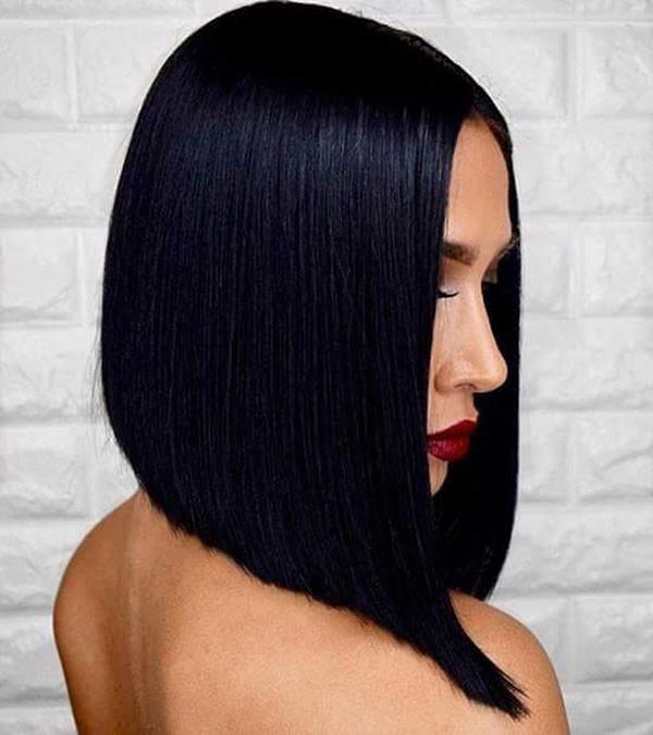 Jet-Black-Bob-Hair Short Straight Hairstyles 2019