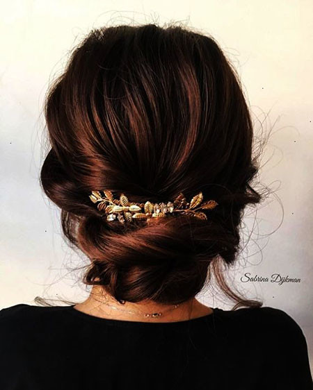 Low-Bun-Updo-Hairstyle Upstyles for Short Hair