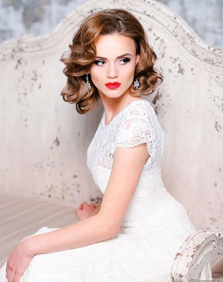 Medium-Length-Hair Wedding Hairstyles for Short Hair