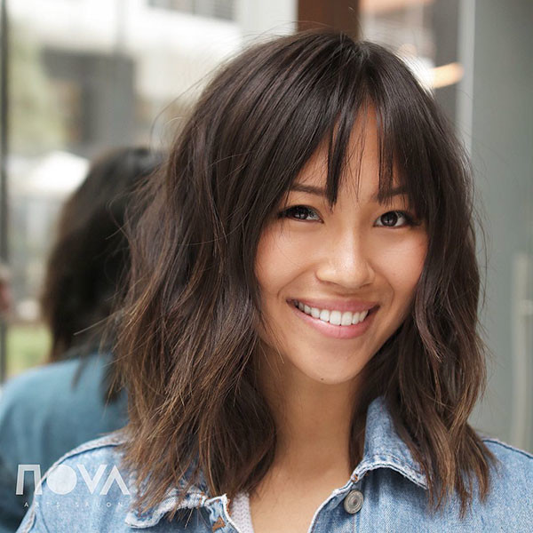 Medium-Short-Hairstyle Short Hairstyles with Bangs 2019