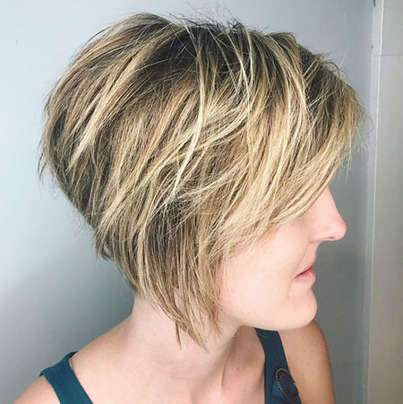Messy-Bob-Cut Short Inverted Bob Hairstyles