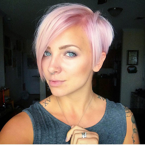 Pink-Short-Hair-with-Bangs Short Hairstyles with Bangs 2019