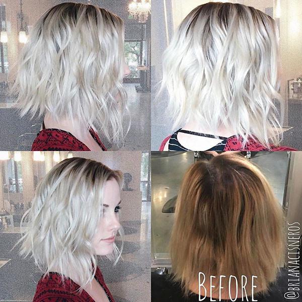 Platinum-Blonde-Hair Popular Short Wavy Hairstyles 2019
