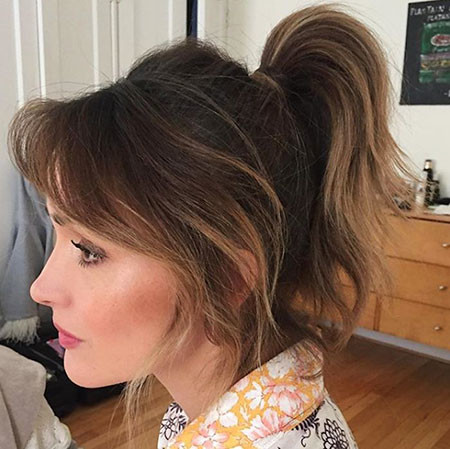 Ponytail-with-Volume Ponytail Hairstyles for Short Hair