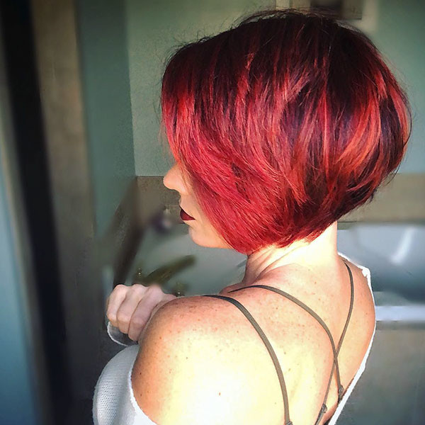 Red-Bob-Hair-with-Highlights Best New Bob Hairstyles 2019
