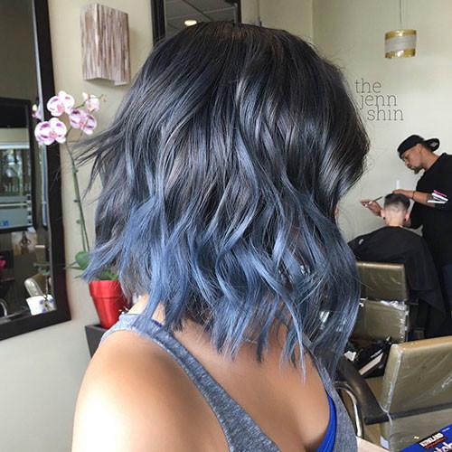 Short-Blue-Hair-Ombre Popular Short Haircuts 2018 – 2019