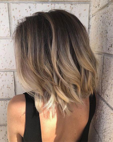 Short-Brown-Balayage-Lob-Hair Popular Short Haircuts 2018 – 2019