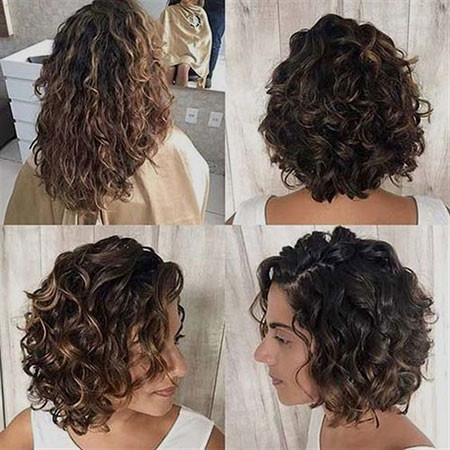 Short-Curly-Brunette-Hair Popular Short Curly Hairstyles 2018 – 2019