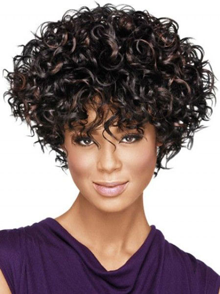Short-Curly-Hair-Bangs Popular Short Curly Hairstyles 2018 – 2019