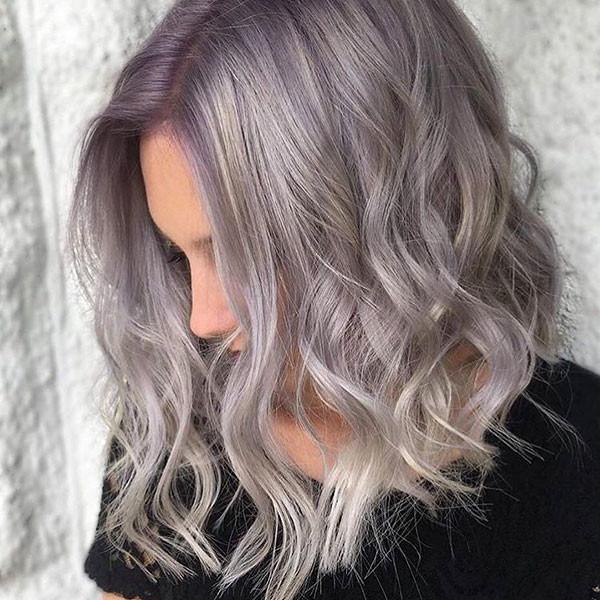 Short-Lavender-Hair Popular Short Wavy Hairstyles 2019