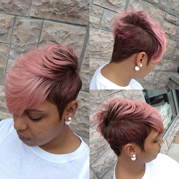 Short-Pink-Hair Short Haircuts for Black Women 2019
