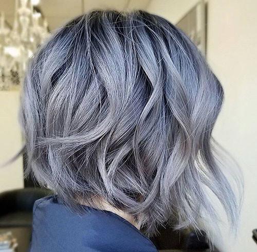 Short-Wavy-Silver-Hair Popular Short Haircuts 2018 – 2019