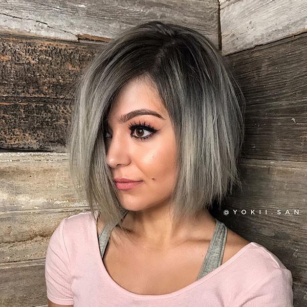 Side-Part-Short-Hair Short Straight Hairstyles 2019
