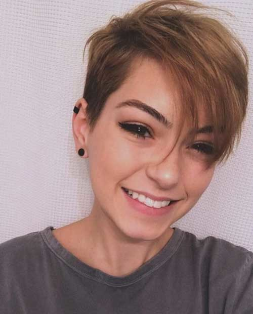 Side-Parted-Long-Pixie Best Short Haircuts for 2018-2019