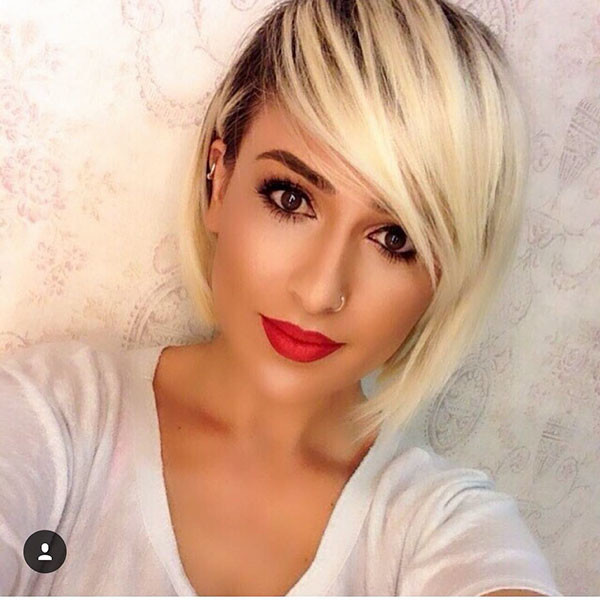 Straight-Blonde-Hair Short Hairstyles with Bangs 2019