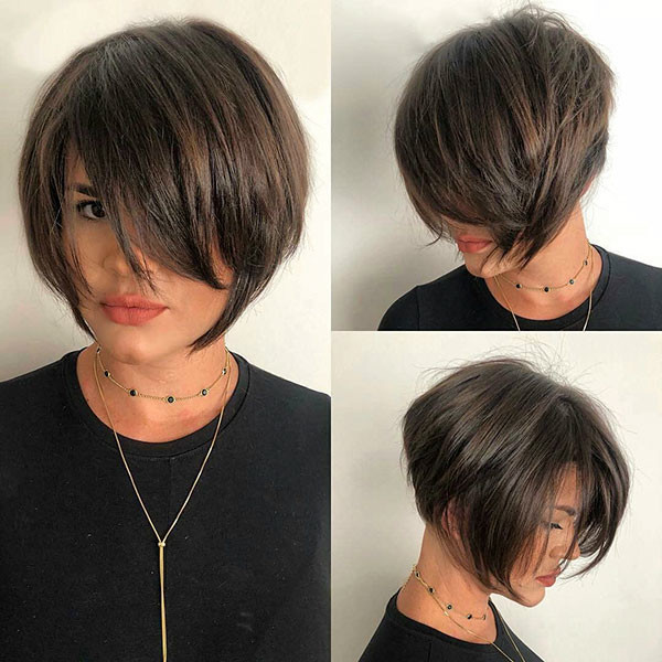 Thick-Hairstyle Short Hairstyles with Bangs 2019