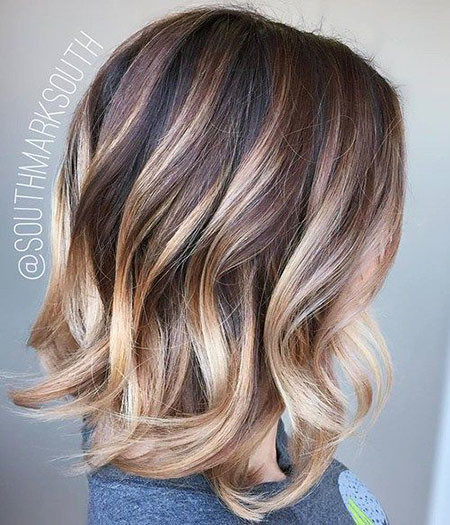 Wavy-Hair-with-Lowlights Hair Color Ideas for Short Haircuts