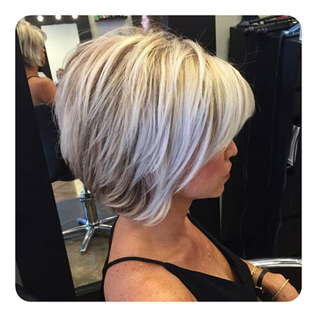 White-Hair-with-Lowlights Short Inverted Bob Hairstyles
